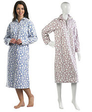 Ladies Coral Fleece Slenderella Nightie Long Sleeved Womens Polka Dot Nightdress