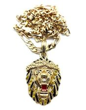 Hot New Iced Out Rhinestone Lion Head Animal Celebrity Style Necklace MSP312