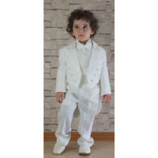 Boys Ivory Cream Tuxedo Tail Suit 5 Piece Christening Baptism Pageboy Outfit