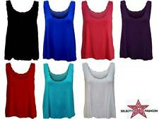 New Womens  Scallop Vest Plus Size Ladies Sleeveless Strappy Scoop Neck Top