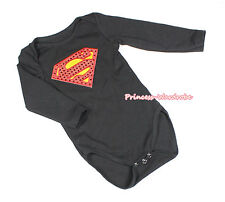 Baby Red Super Hero Black One Piece Cotton Girl Boy Bodysuit Jumpsuit NB-12Month