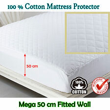 Fully Fitted 50cm Mega Wall - 100% COTTON Quilted Mattress Protector QUEEN KING