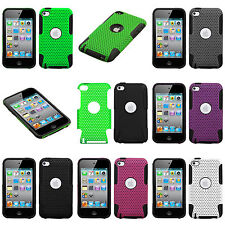 for iPod Touch 4th Gen Hard & Soft Rubber Dual Layer Hybrid MESH Case Skin Cover