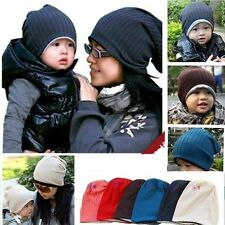 REVERSIBLE Parent Child Adult Baby Kids Warm Winter Beanie Hat Cap 5 Color Pick