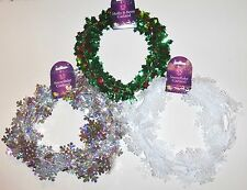 25ft Christmas Holly & Berry Holographic Silver Snowflake 17ft Wire Foil Garland