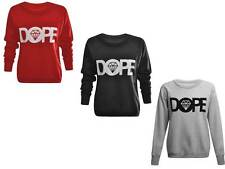 NEW WOMENS AMERICAN DOPE LONG SLEEVE LADIES SWEAT SHIRT SPORTS TOP.SIZE (8-14).