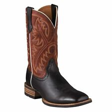 """Ariat Quickdraw Western Boots, Wide square toe, 11"""" height, Black Deertan/Adobe"""