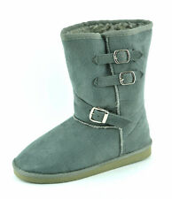 HOT! Women's Winter Boot Pull-on Buckle Design Faux Suede & Fur Lining
