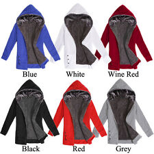 Womens Zip Long Sweatshirt Ladies Girls Hoodie Jacket Coat Sweater Fur Winter UK