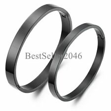 His or Hers Matching Couples Lovers Black Stainless Steel Cuff Bangle Bracelet