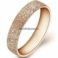 4mm Rose Gold Stainless Steel Womens Girls Matte Engagement Ring Wedding Band