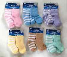 Baby's Fuzzy Socks 2 Pair Solid & Stripes  Newborn - 5T, Polyesters/Spandex, gls