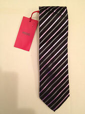 New Men's HUGO HUGO BOSS 100% Silk 7 cm Neck Tie 50242611 Black Diagonal Stripe