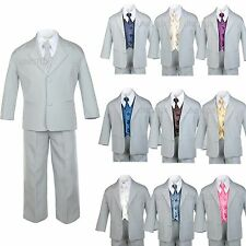 7pc Satin Vest Neck Tie + Boy Baby Toddler Kid Teen Gray Formal Suit Tuxedo S-20