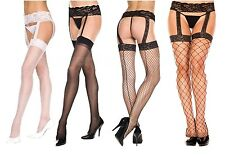 Women Lingerie Garter Belt + Stocking Thigh High Fishnet Sheer Lace Regular Plus