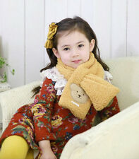 Kids Fleece Winter Scarf with Bear Candy Color Bowknot Wear Neckerchief