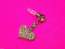 Heart Bling Crystal Dangle Anti Dust Plug iPhone iPad HTC 3.5mm.FREE Sydney Post