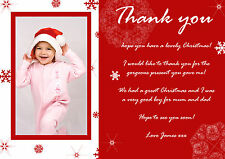 10 Personalised Christmas Greeting Thank You Cards Notes Message Photo Snowflake