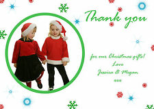 10 Personalised Christmas Greeting Thank You Cards Notes Folded Red Green Photo