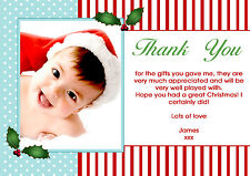 10 Personalised Christmas Greeting Thank You Cards Holly Photo Stripes Blue Red
