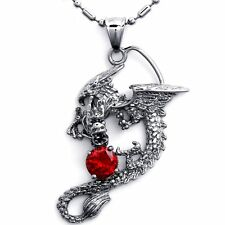 Silver Stainless Steel Mens Dragon Pendant Necklace Cubic Zirconia Birthday Gift