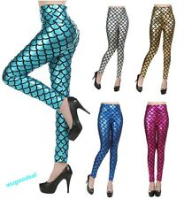 Sexy Womens Mermaid Scale Fish Skinny Stretch Leggings Pants Trousers Wholesale