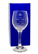 Engraved 8oz Crystal Wine Glass Gift, Keep Calm and Drink Wine, Personalised