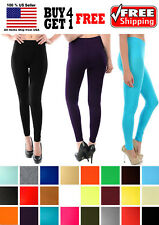 NEW ULTRA STRETCH SPANDEX OPAQUE ANKLE FULL LENGTH LEGGINGS PANTS MANY COLORS