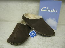 Clarks Kite Nordic Brown Suede Leather Clog Style Mule Slippers