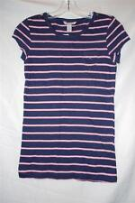 Women's Aeropostale Cap-Sleeve T-Shirt Navy Stripe Sz Juniors' L XL NWT