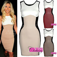 Womens Optical Illusion Contrast Bodycon Slimming Fitted Towie Black Celeb Dress