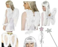 Ladies ANGEL Feather Wings Marabou Fairy Wand Halo Fancy Dress Xmas Costume