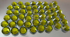 Olive Green Flat Back Round Cut Resin Rhinestones, 14 face (Not Acrylic) #10