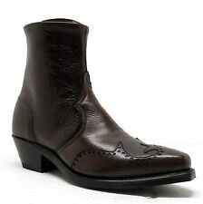 Abilene Boots Mens Zip Up Brown Snip Toe Wing Tip Western Boots