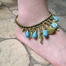 Handmade vintage hmong Thai Indian anklet turquoise copper ring copper bead 008K