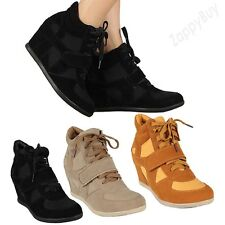 New Womens Wedge Heel Sneaker Shoes Velcro Lace Up Black Cute Sneakers Shoe Size