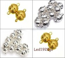 10 Sets Silver/Golden Round Magnetic Toggle Clasps Necklace Finding 8mm 10mm
