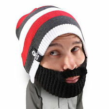 Beard Heads Stubble Cruiser Hat Red Stripes With Beard! Super Warm & Hip