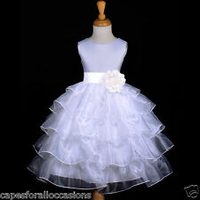 WHITE PAGEANT WEDDING TIERED ORGANZA FLOWER GIRL DRESS 2/2T 3/4 4T 5/6 7/8 9/10