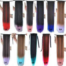 Fashion Long Straight Cosplay Colorful Ponytails Clip-in Hair Extensions KAP22
