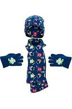Boys Monsters All Over Print Knitted Hat Scarf and Glove Set 2-6 Years Navy Blue