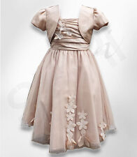 Beautiful Flower Girl Beige Dress Girls Party Prom Bolero Dresses Age 1 to 14 Y