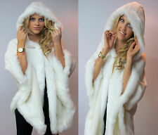 LADIES LUXURY HOODED TOWIE FAUX FUR CAPE / PONCHO / COAT IN CAMEL AND CREAM
