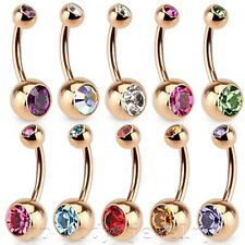 "1pc. 14g, 16g~5/16"", 3/8"" Rose Gold IP Plated 316L Steel Double Gems Navel Ring"