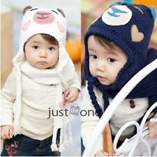 Cute Bear Crochet Knitted Soft Warm Beanies Hats Caps for 2Y-5Y Kids Boys Girls