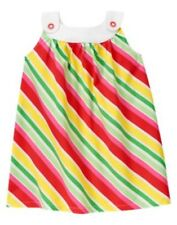 GYMBOREE STRAWBERRY SWEETHEART MULTI COLOR STRIPE WOVEN JUMPER DRESS 3 6 3T NWT