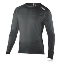 2XU Mens Black MP3 Holder Crew Neck Long Sleeve Compression Sports Running Top