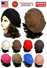 Women Fashion Warm Winter Knit Crochet Beret Braided Baggy Beanie Hat Cap