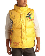 Ed Hardy Yellow Mens Flaming Skull Puffer Vest