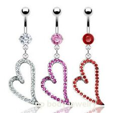 "1pc. 14G~3/8"" Surgical Steel Navel Ring w/ Gem Paved Heart Dangle (Choose Color)"